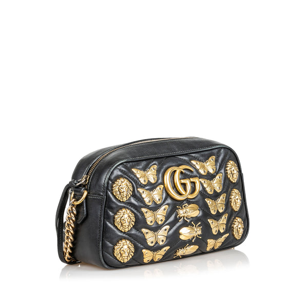 Buy & Consign Authentic Gucci  Marmont Animal Stud Crossbody Black at The Plush Posh