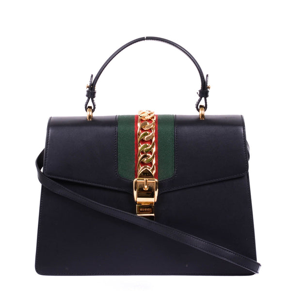 Buy & Consign Authentic Gucci Calfskin Medium Sylvie Top Handle Bag Black at The Plush Posh