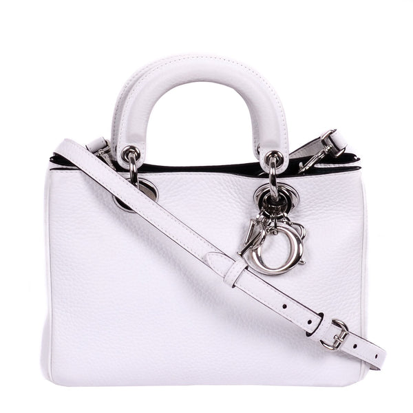 Buy & Consign Authentic Dior Bullcalf Mini Diorissimo Tote White at The Plush Posh