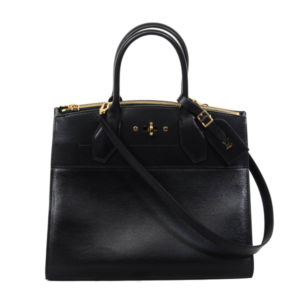 Buy & Consign Authentic Louis Vuitton Calfskin Studded City Steamer MM Black at The Plush Posh