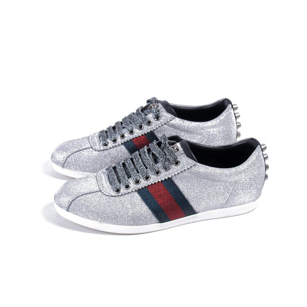 Buy & Consign Authentic Gucci Glitter Fabric Studded Web Sneakers Silver 36 at The Plush Posh