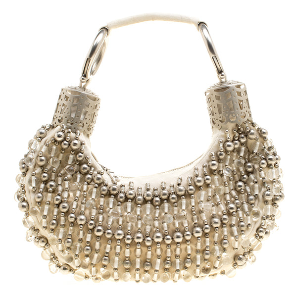 Chloe Bead Embellished Crescent Hobo