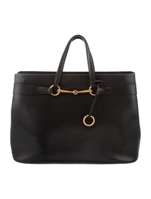 Gucci Bright Bit Leather Tote Black