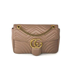 Buy & Consign Authentic Gucci Marmont Matelasse Shoulder Bag Medium Beige leather at The Plush Posh