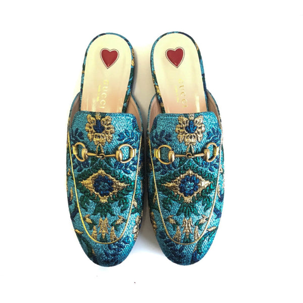 Buy & Consign Authentic Gucci Princetown Loafer Slip ons in Blue Multi at The Plush Posh