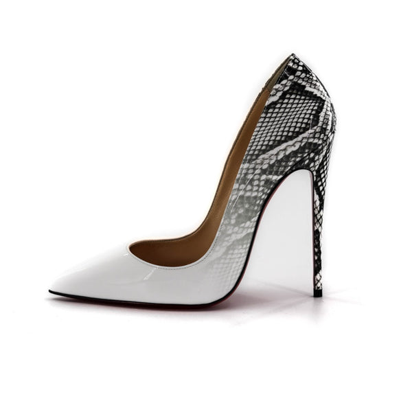 Buy & Consign Authentic Christian Louboutin Roccia Snakeskin So Kate 37 White at The Plush Posh