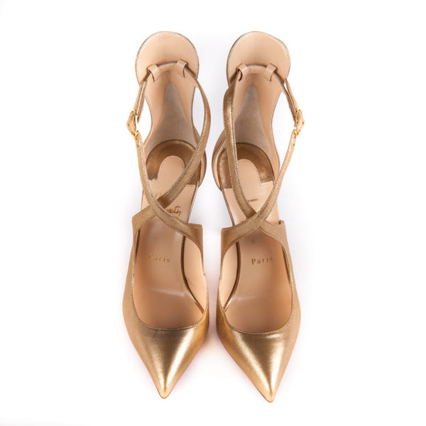 Buy & Consign Authentic Christian Louboutin Marlenarock in Gold 37 at The Plush Posh