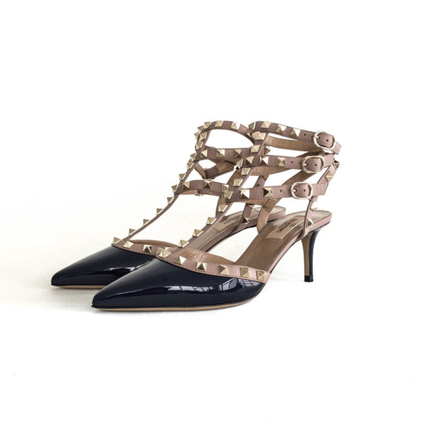 Buy & Consign Authentic Valentino Classic Rockstuds in Navy Patent 37.5 at The Plush Posh