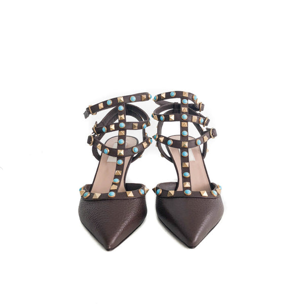 Buy & Consign Authentic Valentino Rockstuds with Turquoise Stones 38 Brown at The Plush Posh