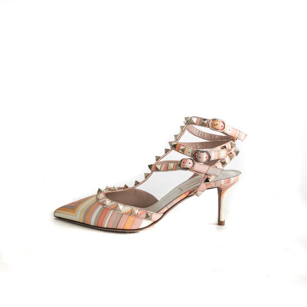 Buy & Consign Authentic Valentino Classic Rockstuds in Peach and Orange 37 at The Plush Posh