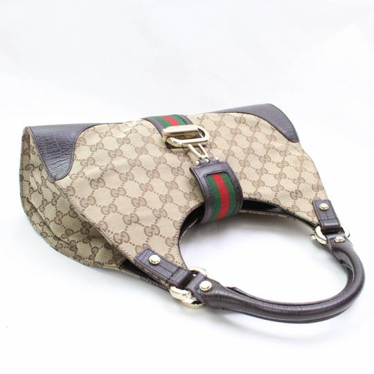 Gucci Bardot Brown Web Hobo