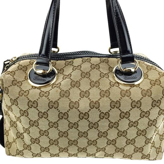 Gucci Patent Leather Trim Tan Canvas Satchel