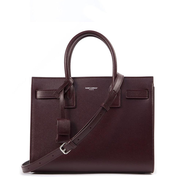 Saint Laurent Calfskin Small Sac De Jour Burgundy
