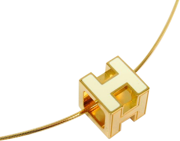 Buy & Consign Authentic Hermes Pop H Ivory Lacquer Gold Plated Pendant Necklace at The Plush Posh