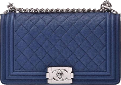 Buy & Consign Authentic Chanel 2018 Caviar Quilted Small Boy Flap Blue at The Plush Posh