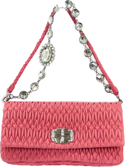 Buy & Consign Authentic Miu Miu Velluto Matelasse Crystal Chain Shoulder Bag Cammeo at The Plush Posh