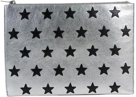 Buy & Consign Authentic Saint Laurent Paris Star Pattern Silver Clutch at The Plush Posh