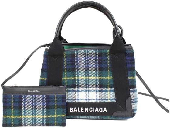 Buy & Consign Authentic Balenciaga Navy/Green check handbag at The Plush Posh