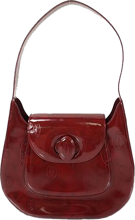 "Buy & Consign Authentic Cartier Burgundy Logo Embossed Patent Leather ""Happy Birthday"" Shoulder Bag at The Plush Posh"