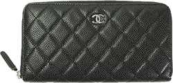 Buy & Consign Authentic Chanel Black Quilted Matelasse Leather Zip Around Long Wallet at The Plush Posh