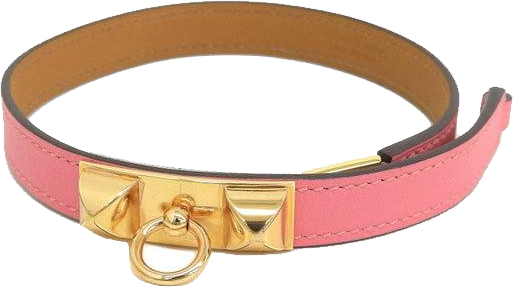 Buy & Consign Authentic Hermes Rivale Pink Leather Gold Plated Bracelet at The Plush Posh