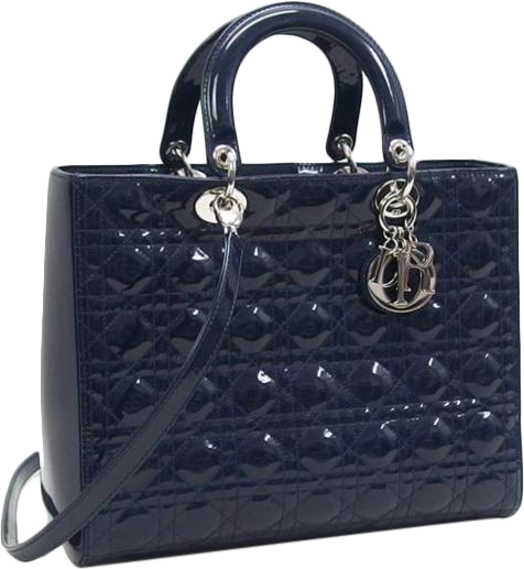 Buy & Consign Authentic Christian Dior Lambskin Cannage Large Lady Dior Enamel Blue at The Plush Posh