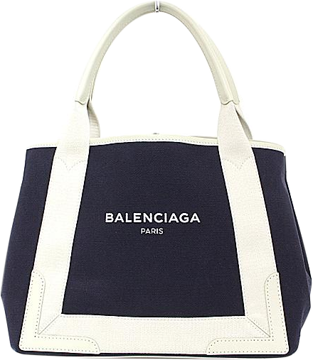 Buy & Consign Authentic Balenciaga Natural/Navy Canvas Navy Tote at The Plush Posh