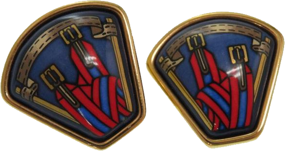 Buy & Consign Authentic Hermes Enamel Earrings Blue Red at The Plush Posh
