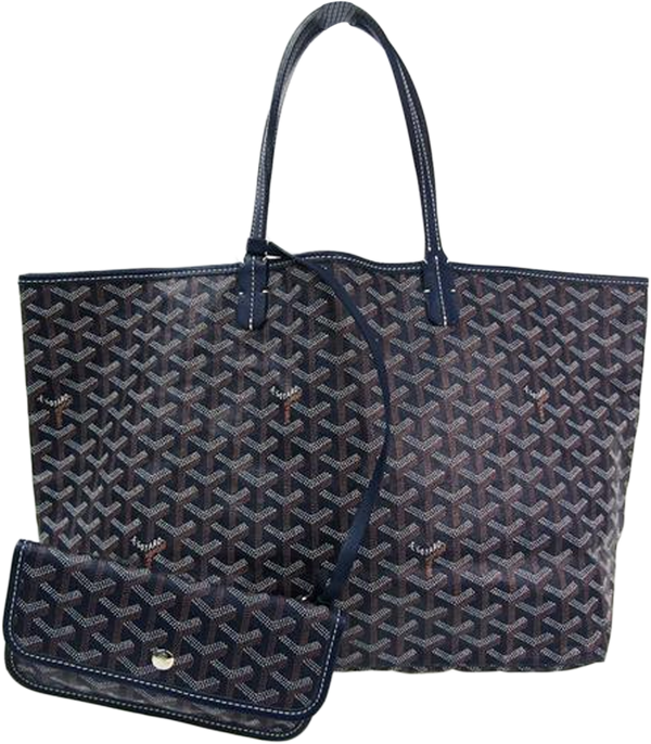 Buy & Consign Authentic Goyard Saint Louis Saint Louis PM Leather,Canvas Tote Bag Navy at The Plush Posh