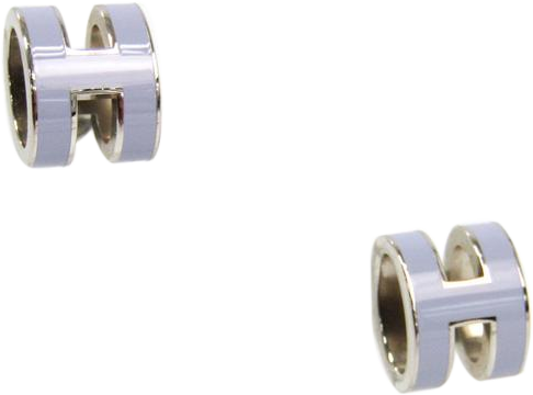 Buy & Consign Authentic Hermes Pop H Light Purple Lacquered Gold Plated Stud Earrings at The Plush Posh