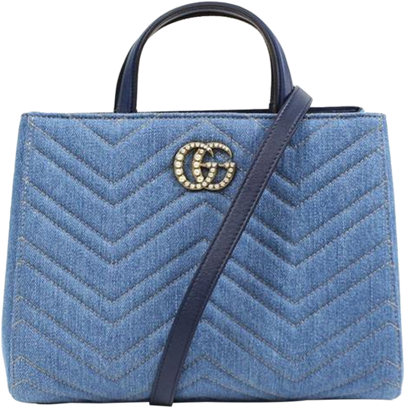 Buy & Consign Authentic Gucci 2017 Small GG Marmont Denim Matelasse Satchel at The Plush Posh