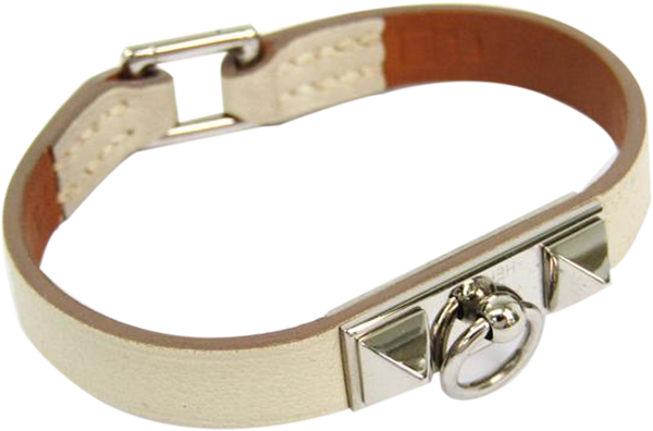 Buy & Consign Authentic Hermes Micro Rivale Leather Bracelet Ivory at The Plush Posh