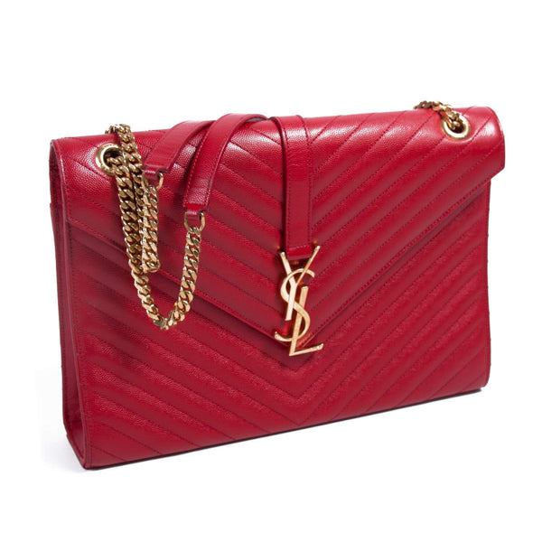Buy & Consign Authentic Saint Laurent Red Monogram Envelope Shoulder Bag at The Plush Posh