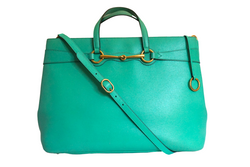 Gucci Bright Bit Leather Tote Green Large