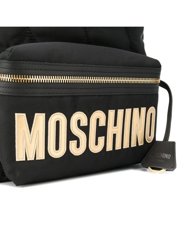 Moschino Black Quilted Nylon and Neoprene Logo Backpack