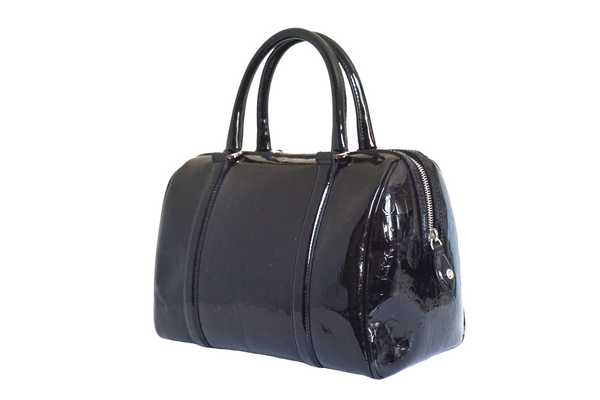 Dior Black Monogram Patent Leather Boston Bag