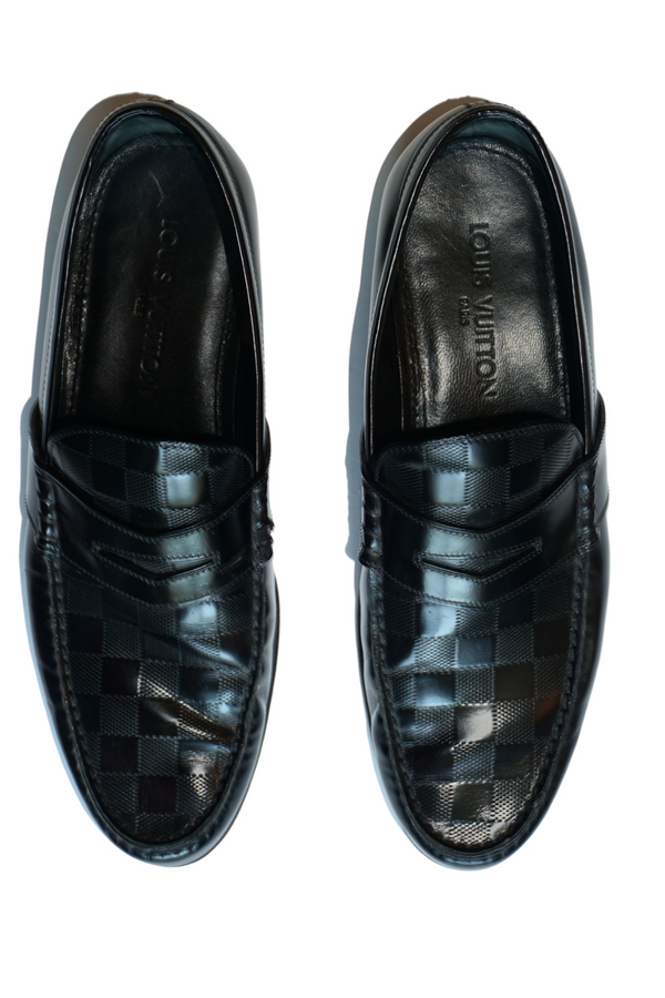 Louis Vuitton Black Damier Embossed Outline Dress Loafers Size 43