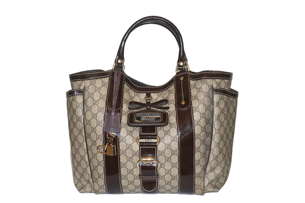 Gucci Brown and Dark Tan GG Canvas and Leather Large Sukey Tote