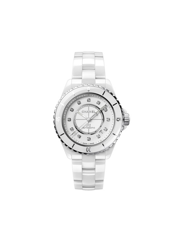 Chanel J12 Watch White Ceramic, Steel and Diamonds, 38 mm