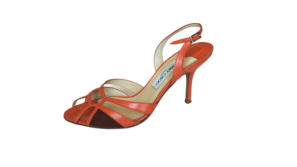 Jimmy Choo Orange Leather Strappy Slingback Sandals