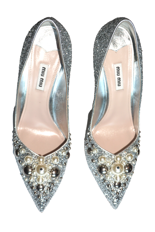 Miu Miu Pearl Embellished Glitter Pointed Toe Pumps
