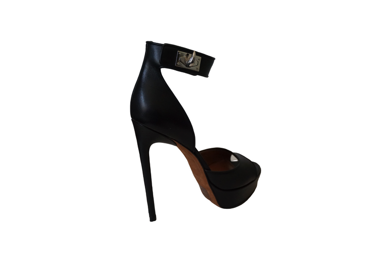 Givenchy Black Calf Leather Shark Tooth Ankle Strap Open Toe Platform Sandals