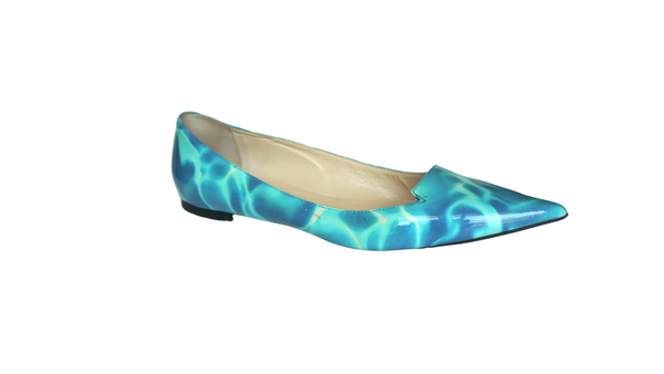 Jimmy Choo Blue White Patent Leather Avril Pointed Toe Flats