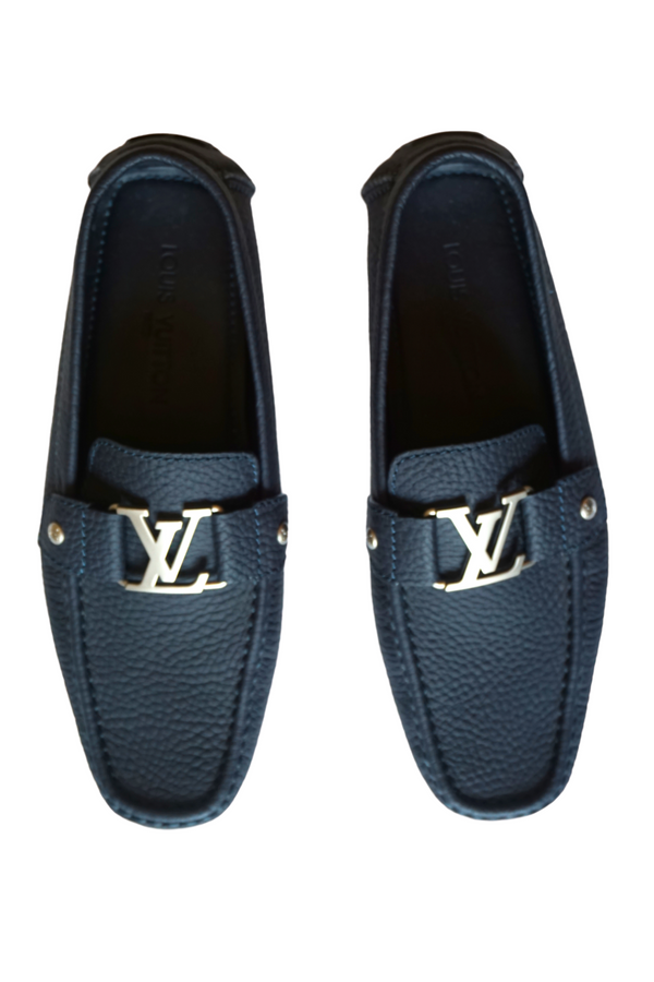 Louis Vuitton Navy Blue Textured Leather Monte Carlo Moccasins Size 42