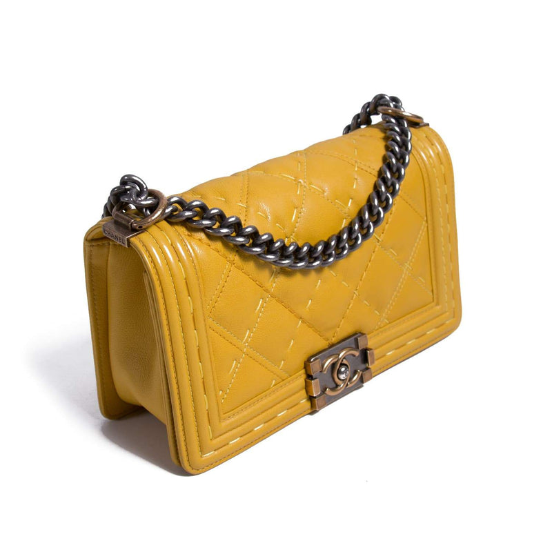 Buy & Consign Authentic Chanel Calfskin Double Stitch Small Boy Flap Yellow at The Plush Posh