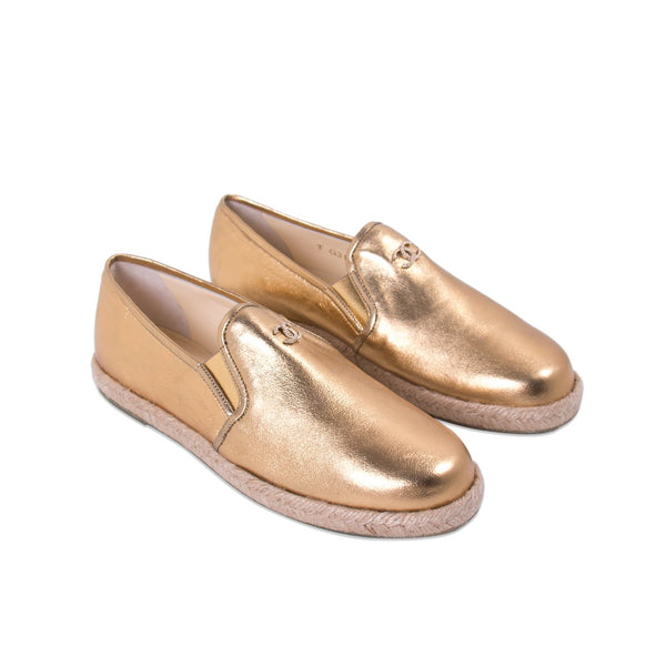 Buy & Consign Authentic Chanel Metallic Patent CC Espadrilles Gold 39 at The Plush Posh