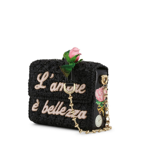 Buy & Consign Authentic Dolce and Gabbana Black Woven Straw L'amore e' Bellezza Chain Crossbody Bag at The Plush Posh