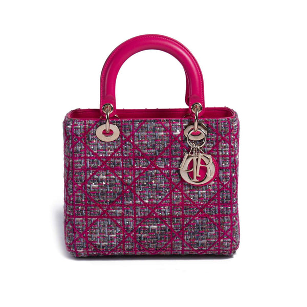 Buy & Consign Authentic Dior Lambskin Cannage Tweed Mini Lady Dior Pink at The Plush Posh