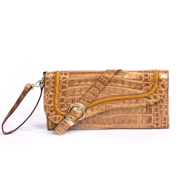 Buy & Consign Authentic Dior Crocodile Gaucho Saddle Clutch at The Plush Posh