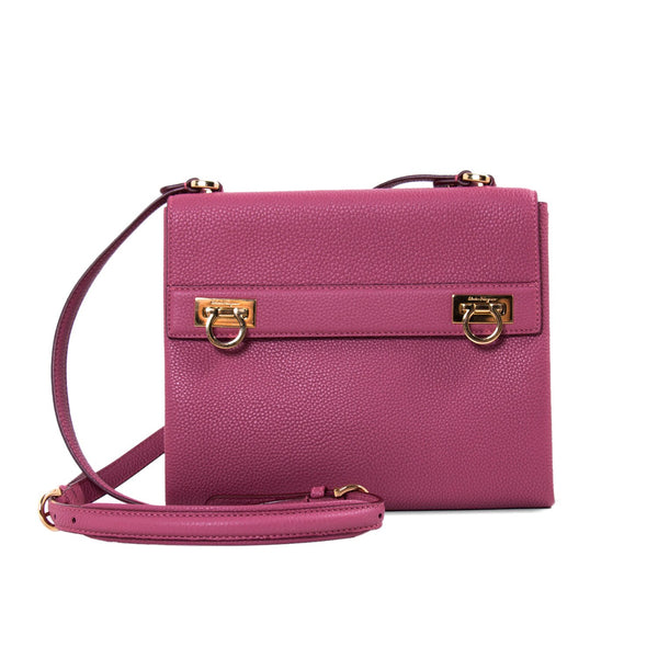 Buy & Consign Authentic Salvatore Ferragamo Grained Leather Mya Crossbody Bag Purple at The Plush Posh